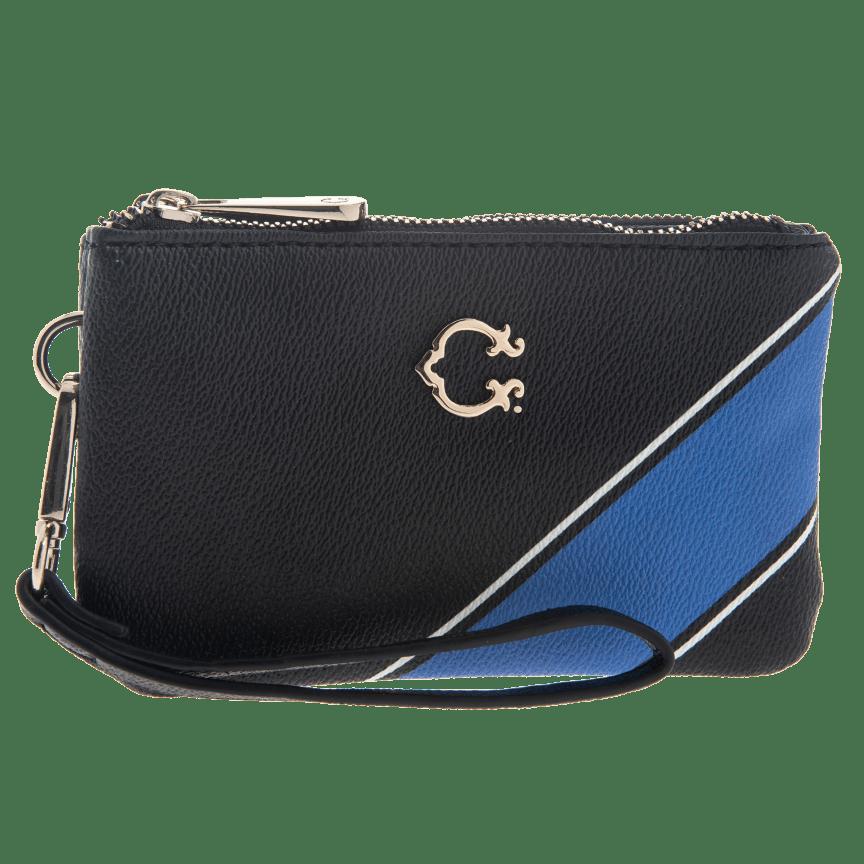 7d7500a6ecab Black & Blue Stripe Pattern Palmer Double Zip Wristlet by C. Wonder