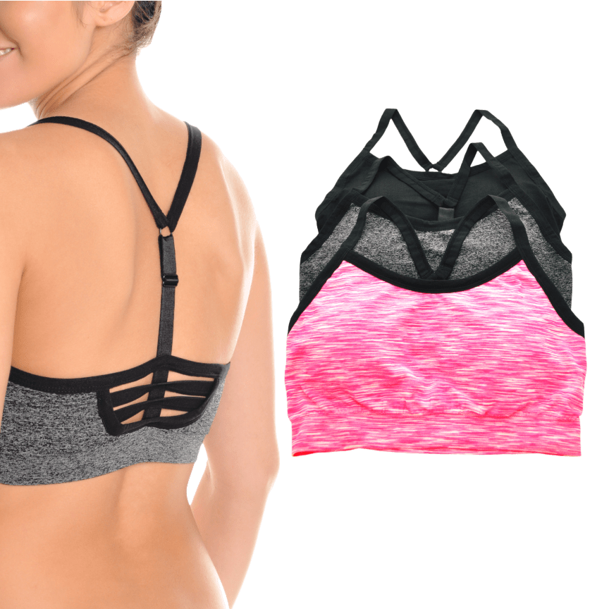a212217359887b 3-Pack  Angelina Seamless Adjustable Y Strappy Back Sports Bras