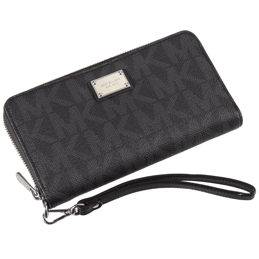 25d1c3c9216779 Michael Kors Essential Large Multifunction Wallet Gray Monogram