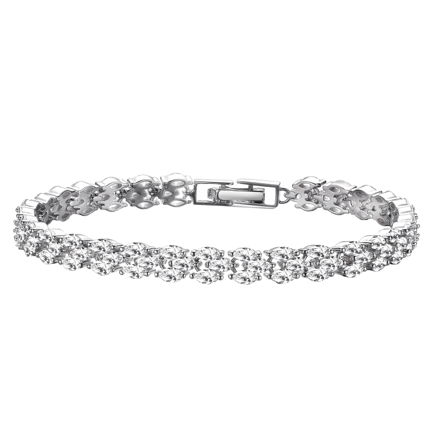 684a4748c Genevive Sterling Silver Platinum Plated Clear Marquise Three-Row Bracelet