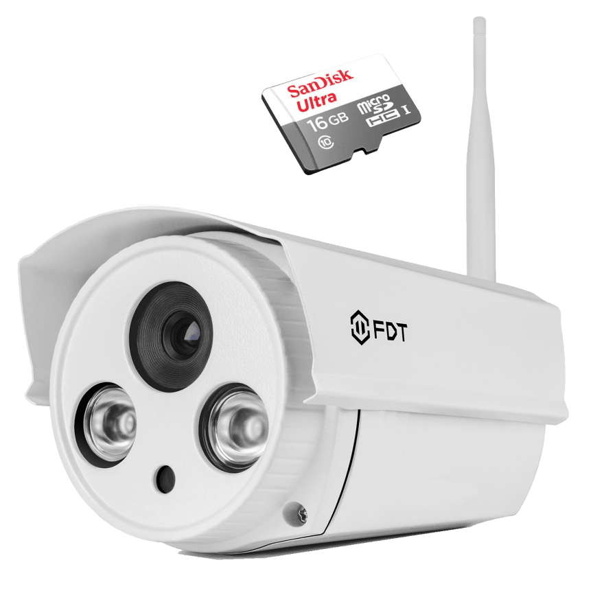 FDT 720P HD WiFi Outdoor Bullet IP Camera with Sandisk 16GB MicroSD Card