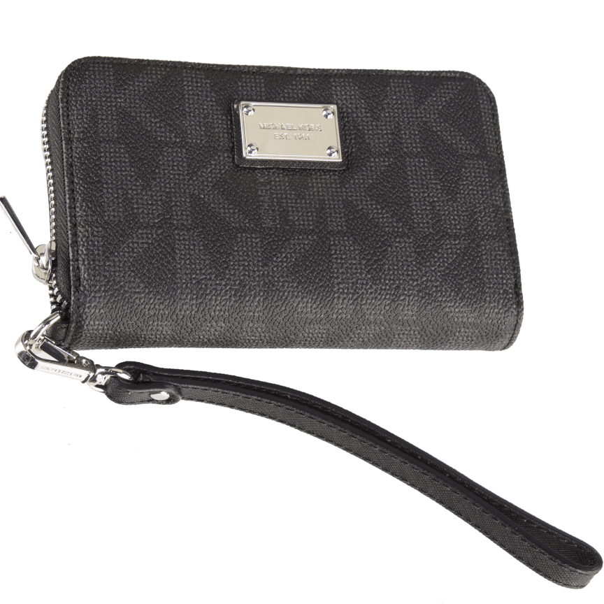e2941a407d477f Michael Kors Essential Zip Wallet Gray Monogram