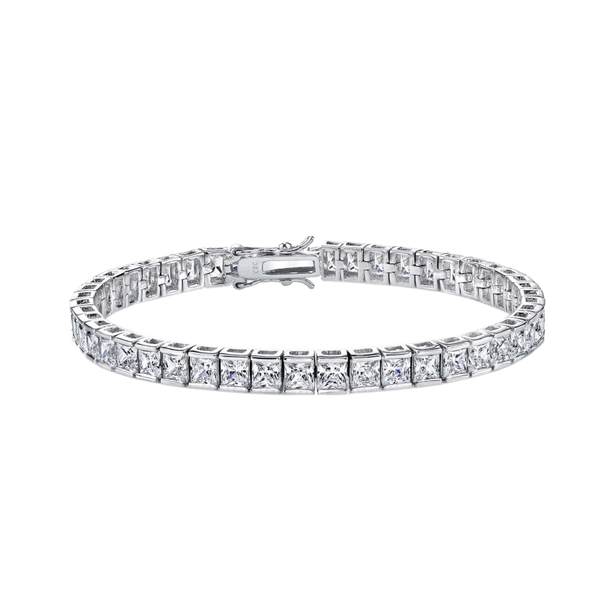 a436ac6b4 Genevive Platinum Plated Square Simulated Diamond Tennis Bracelet