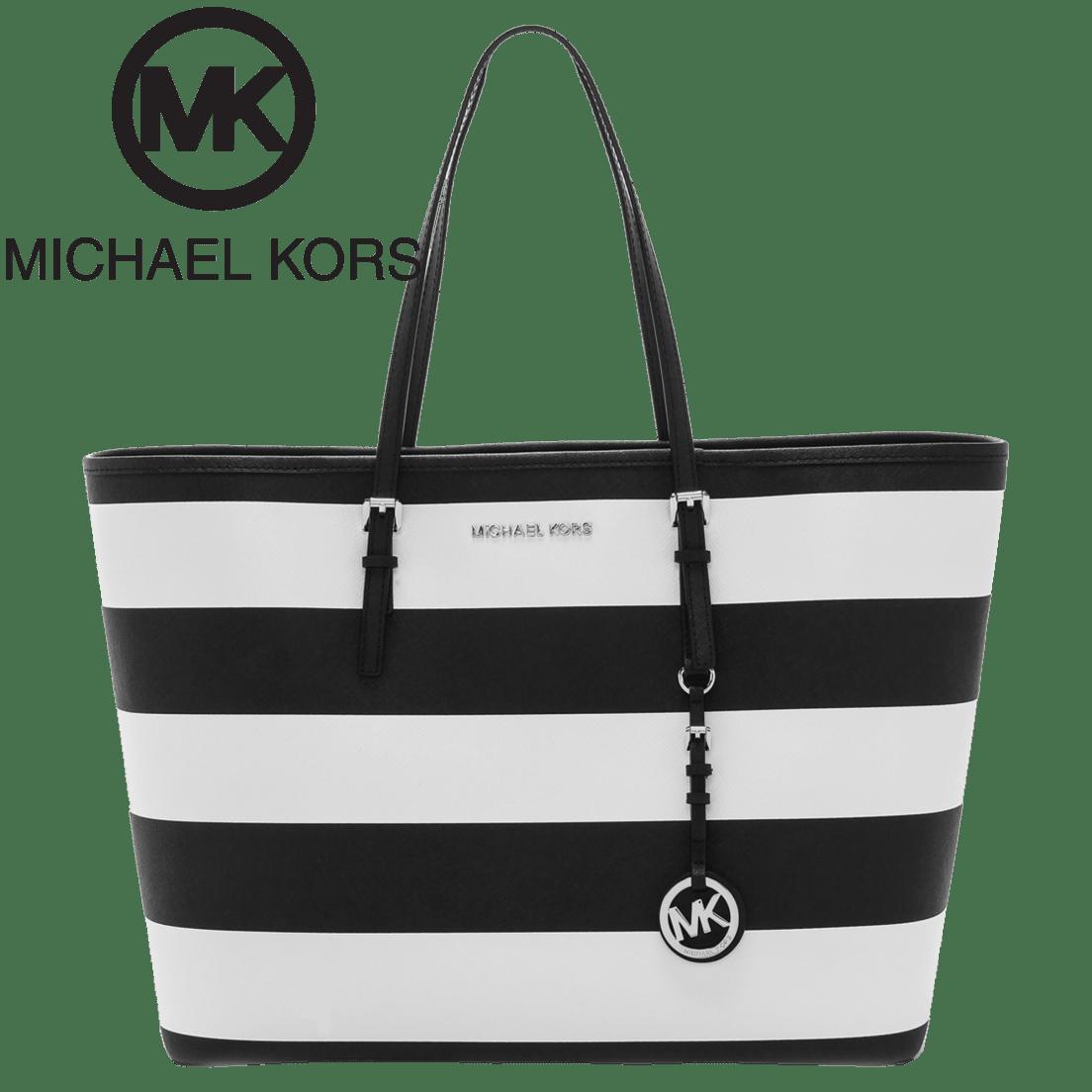af40c6812d8a Michael Kors Jet Set Medium Saffiano Leather Top-Zip Tote in Black   White