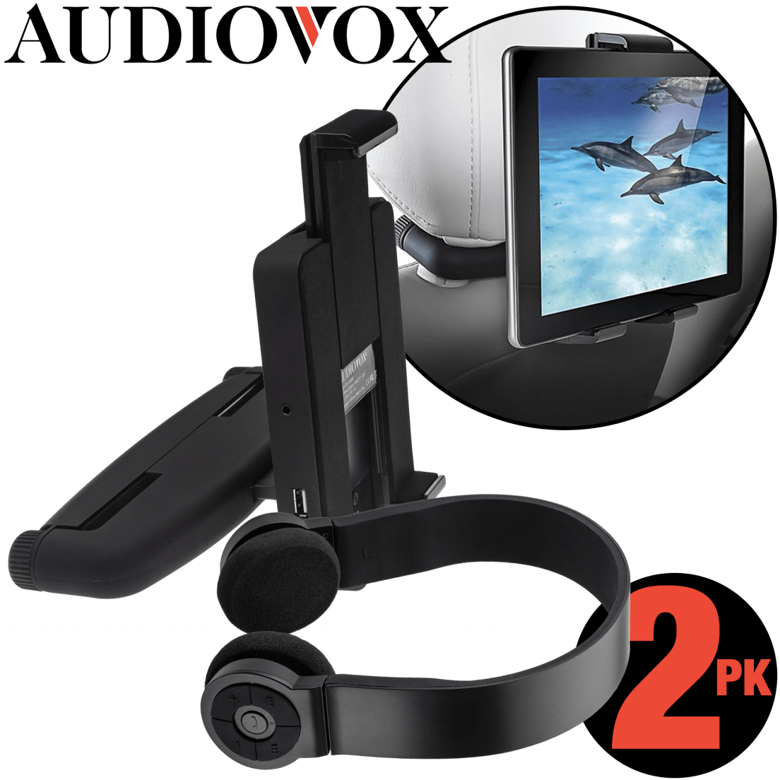4d13d937303 2-Pack of Audiovox Universal Vehicle Tablet Mounts with Bluetooth Headphones