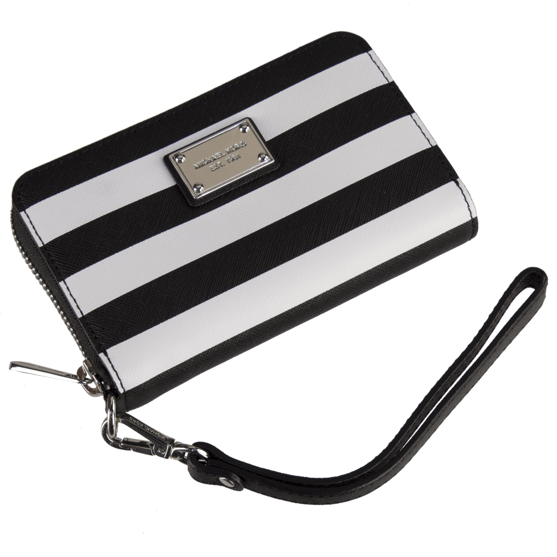 05f7934a3a45 Michael Kors Essential Zip Wallet Black and White Saffiano