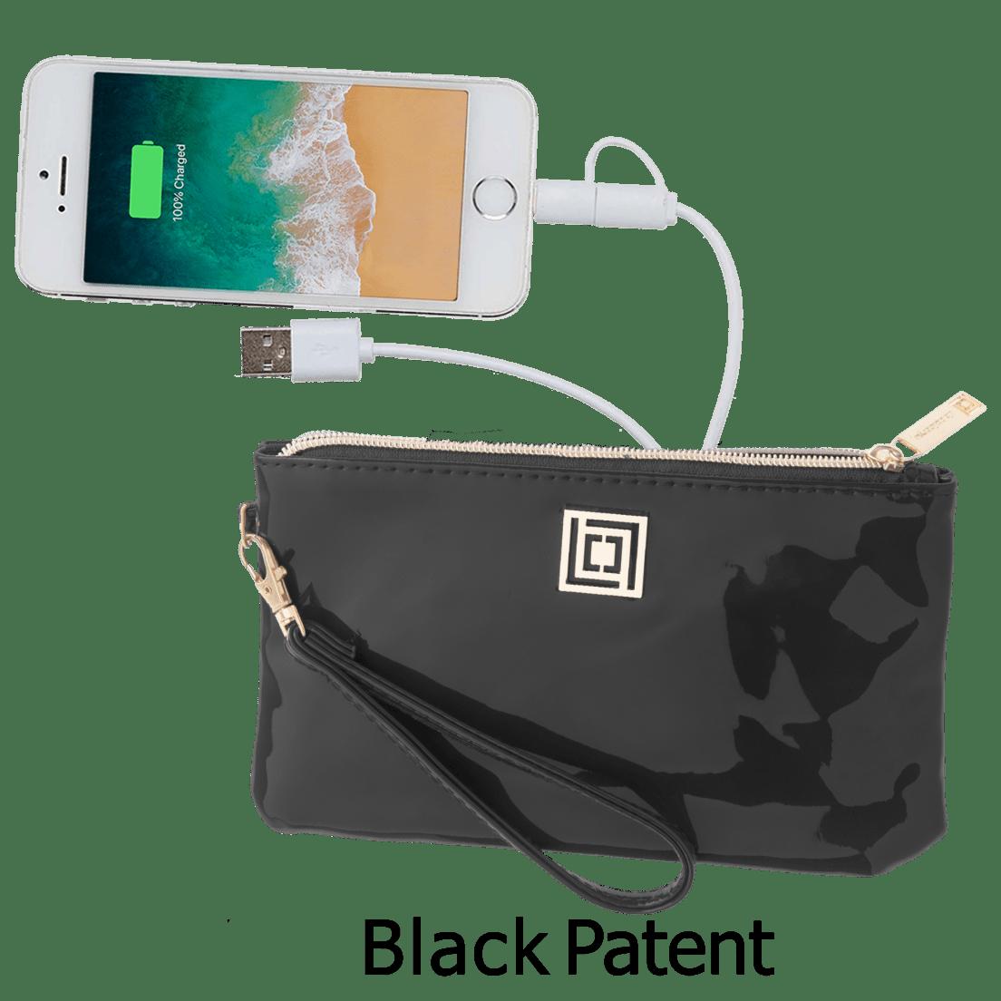 67b7ba71977ba Black Patent Phone Charging Wristlets w RFID Theft Protection by Liz  Claiborne