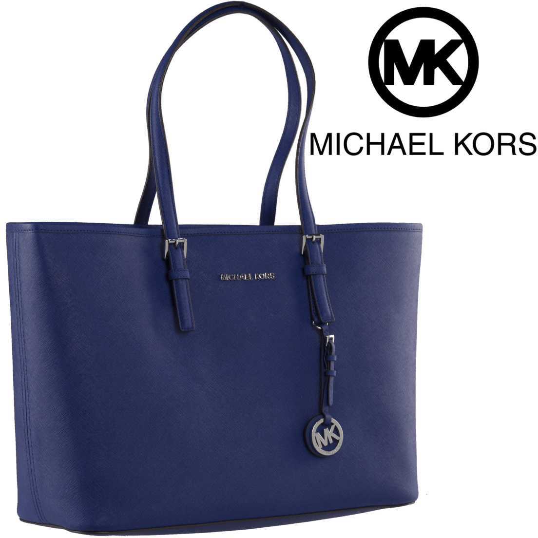 94ab6448c71438 Michael Kors Jet Set Travel Medium Saffiano Leather Top-Zip Tote in Blue