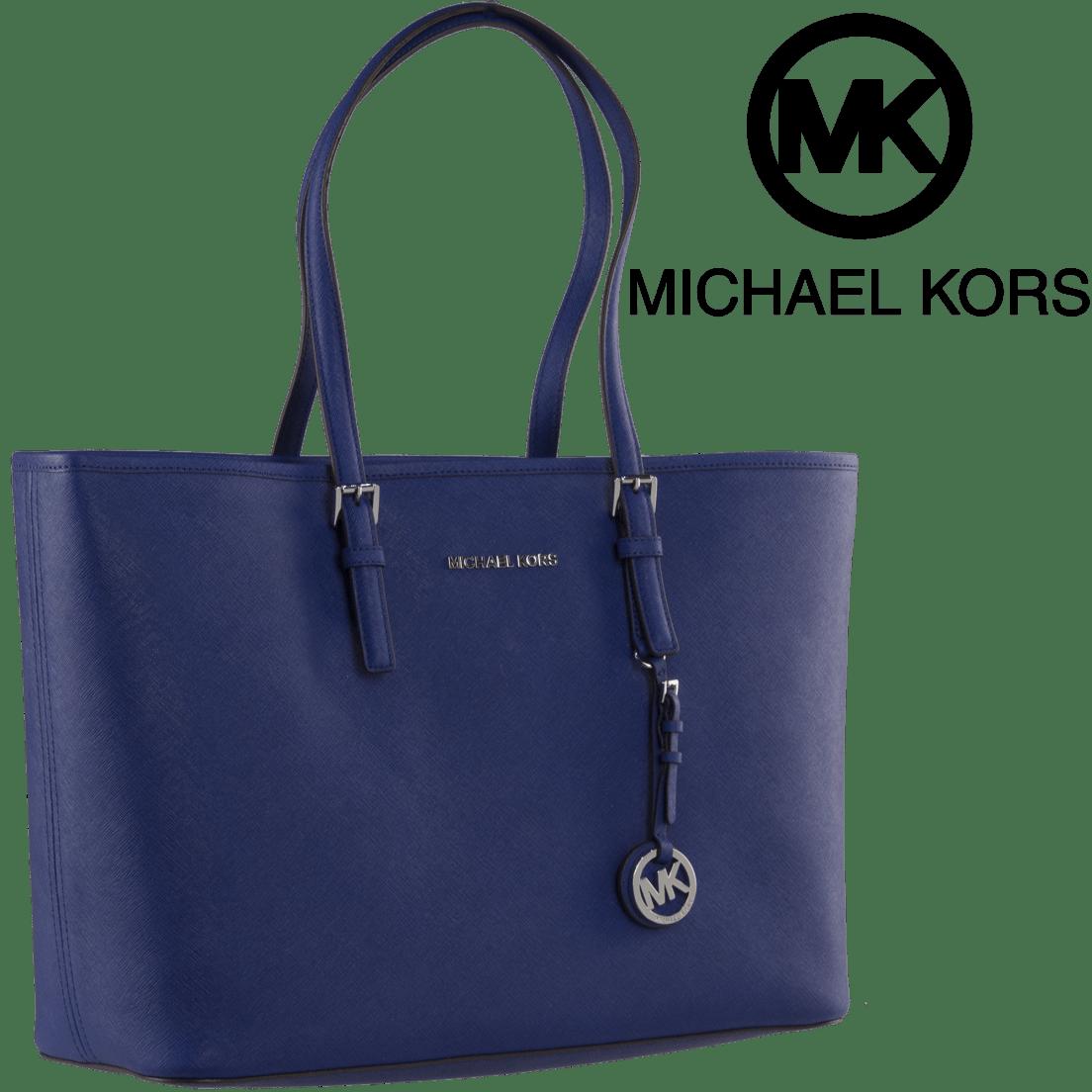 7da4ce862f4f Michael Kors Jet Set Travel Medium Saffiano Leather Top-Zip Tote in Blue