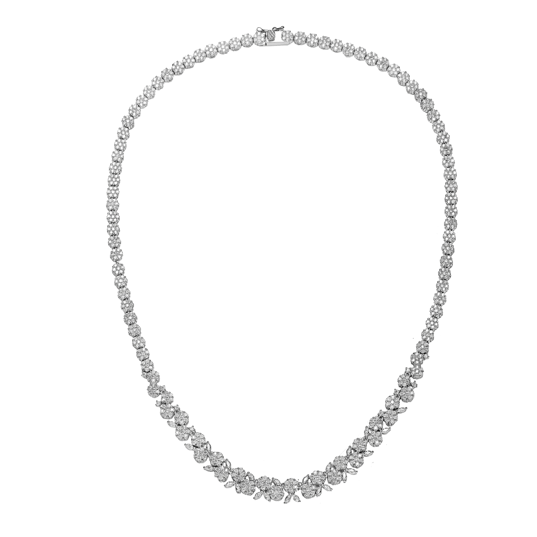 2aa296694 Genevive Sterling Silver Platinum Plated Clear Marquise & Round Floral  Necklace