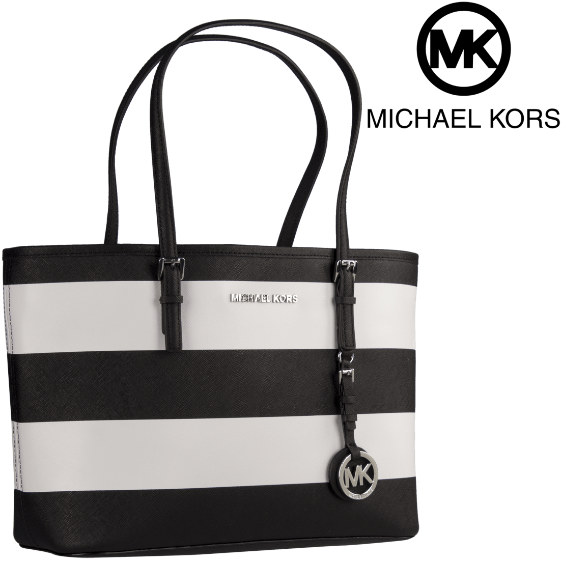 1b37b18d553bc9 Michael Kors Jet Set Travel Small Saffiano Leather Top-Zip Tote in Black &  White
