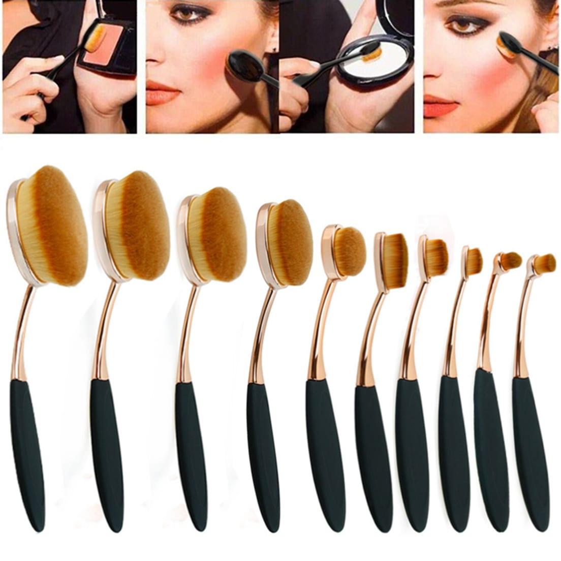 5523da6951 Zoë Ayla 10-Piece Professional Oval Makeup Brush Set