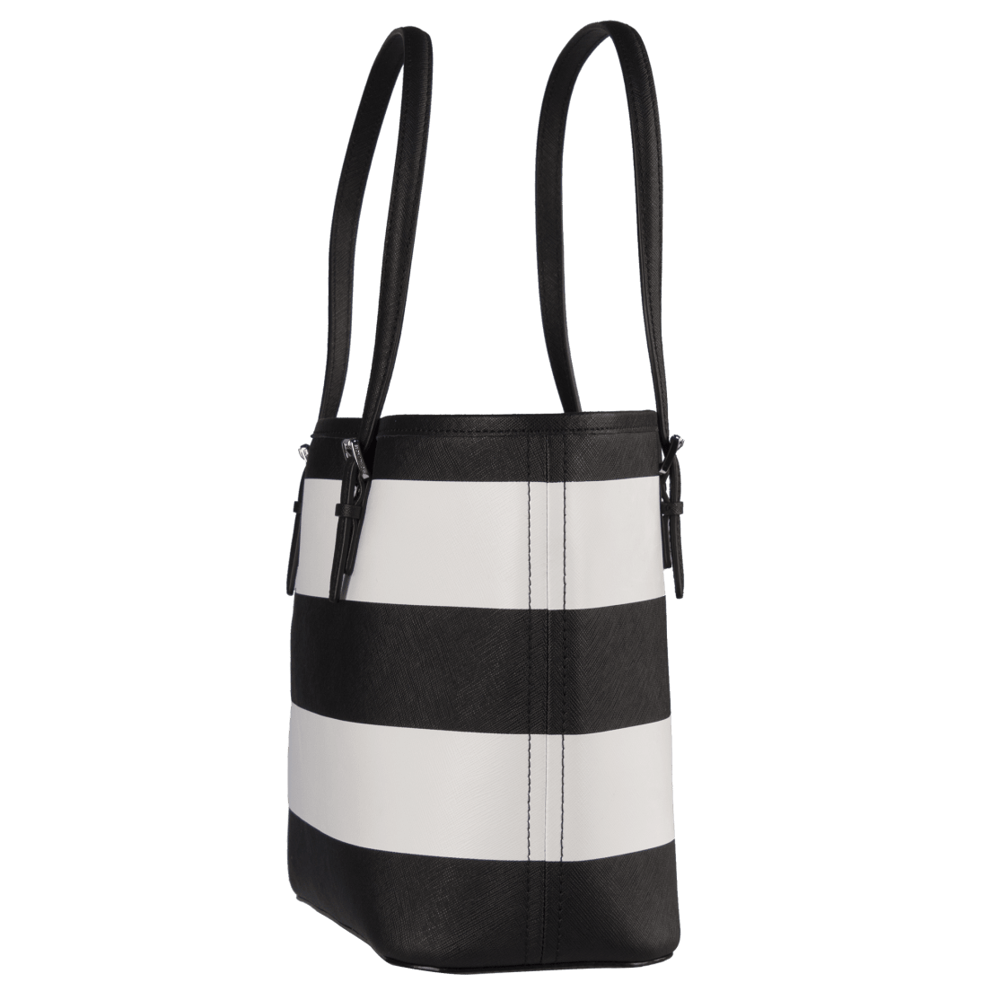 a093002c2e8470 ... Michael Kors Jet Set Travel Small Saffiano Leather Top-Zip Tote in  Black & White. Too late