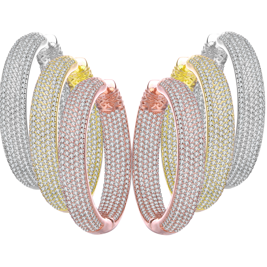 a4f9b309460a Genevive Large Crystal Studded Pave Hoop Earrings