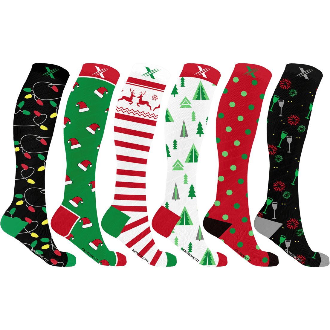 c0c88b4d2 XTF Holiday Collection Knee High Compression Socks - 3 Pack