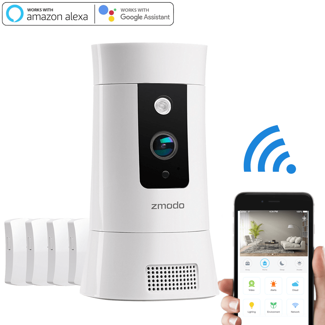 Zmodo Pivot Cloud 350° Rotating Smart WiFi Camera with Door/Window