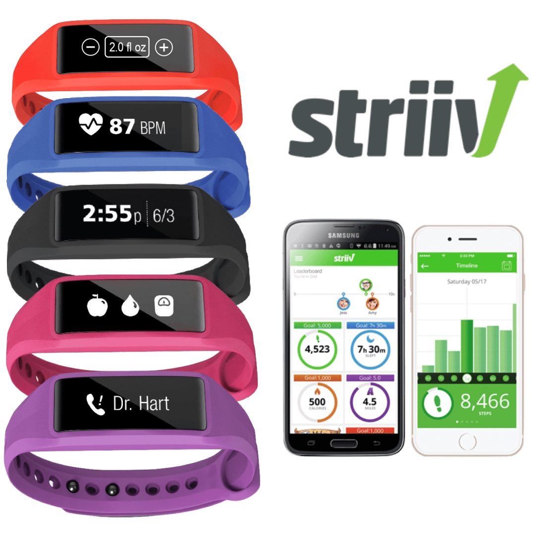 2-Pack: Striiv Fusion Bio 2 Smartwatch with Continuous Heart
