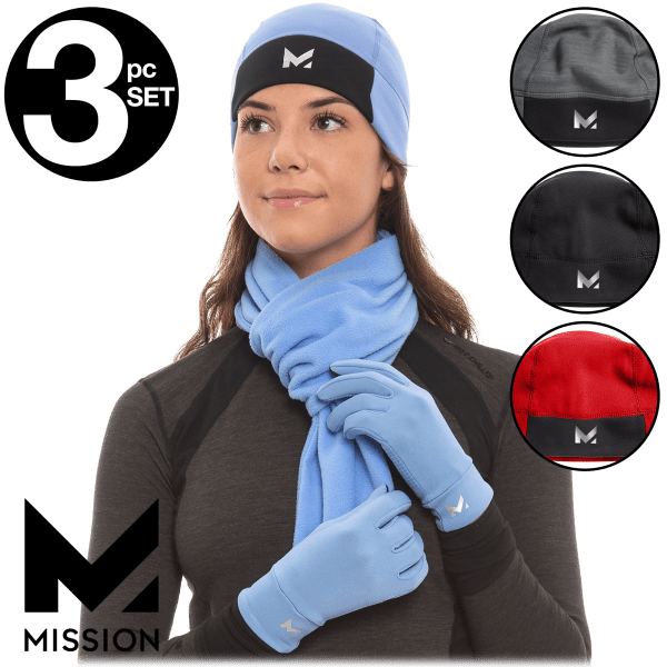 RadiantActive 3-Piece Beanie, Scarf and Glove Set by Mission