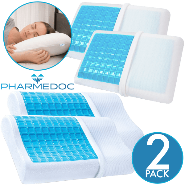2-Pack: PharMeDoc Memory Foam Pillow with Cooling Gel Top