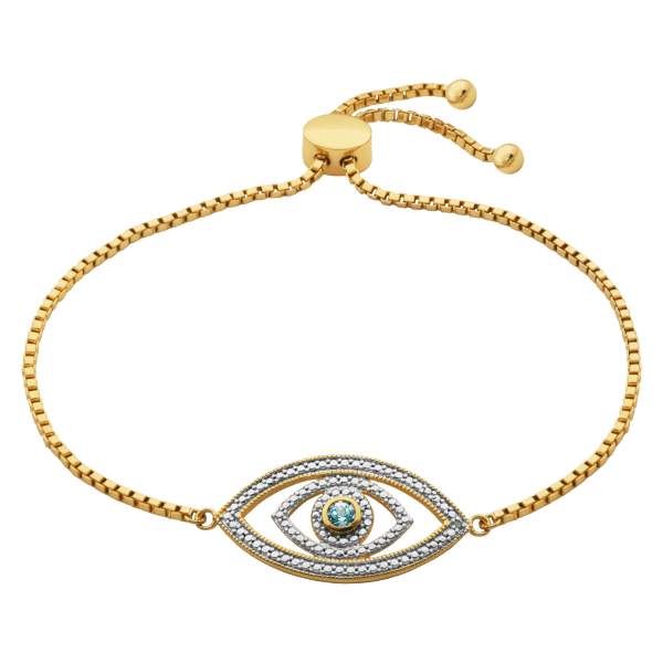 Evil Eye Gold-Plated Bracelet with Topaz and Diamond Accent