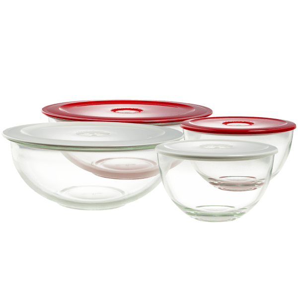 Decor Set of 2 Glass Bowls with Vented Lids