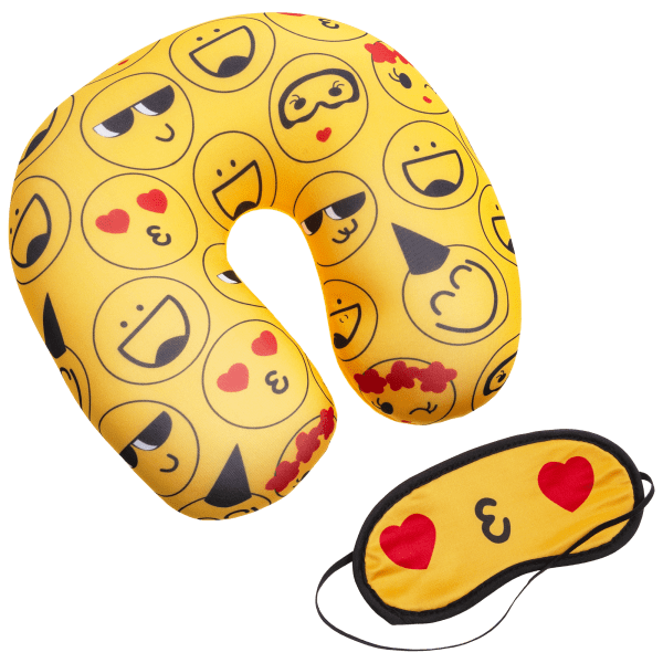 Emoji Travel Pillow w/ Eye Mask