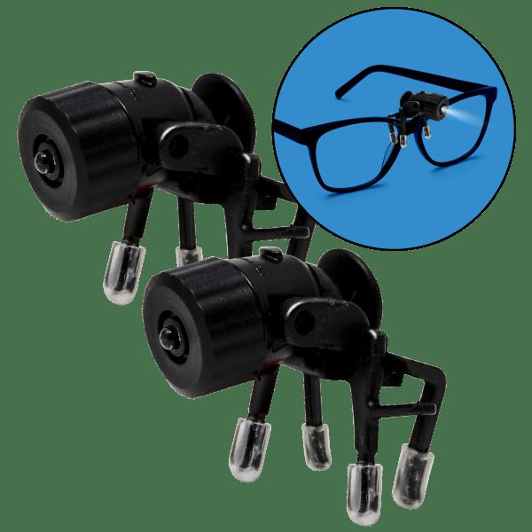 2-Pack Bright Basics Universal Clip-On LED Glasses Light