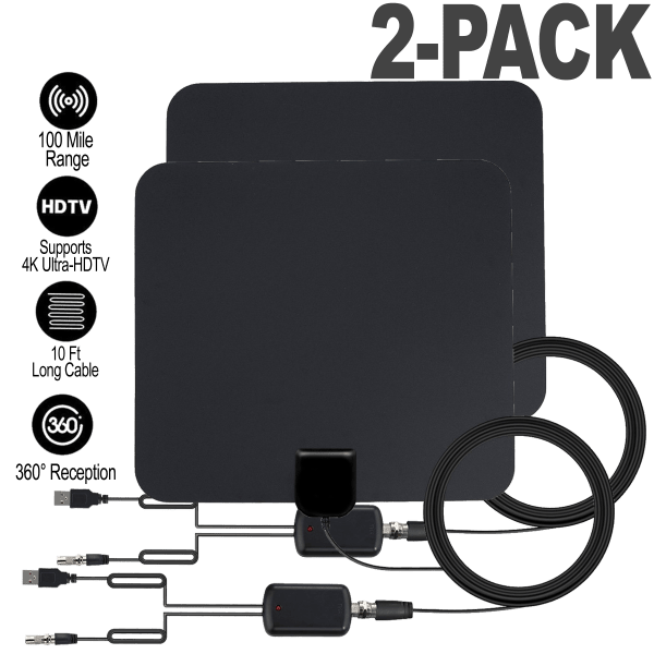 2-Pack of 100-Mile Amplified Antennas