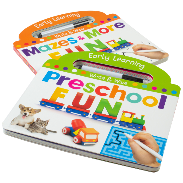 2-Pack: Page Publications Write & Wipe Mazes & More Books