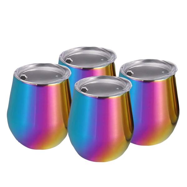 4-Pack: Cambridge Rainbow 11oz Tumblers with Lids