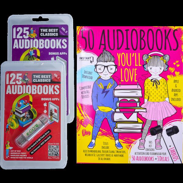 eGo 250 Classic Audiobooks or 50 Kids Audiobooks/Earbuds Set