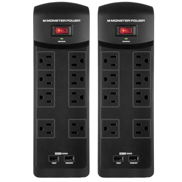 2-Pack: Monster Core Power 800 8-Outlet Surge Protector with 2 USB Ports