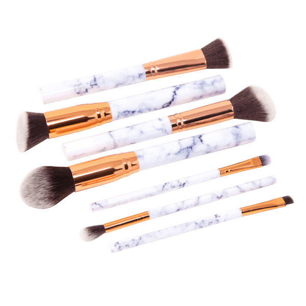 Zoe Ayla 7 Piece Marble Effect Make Up Brush Set With