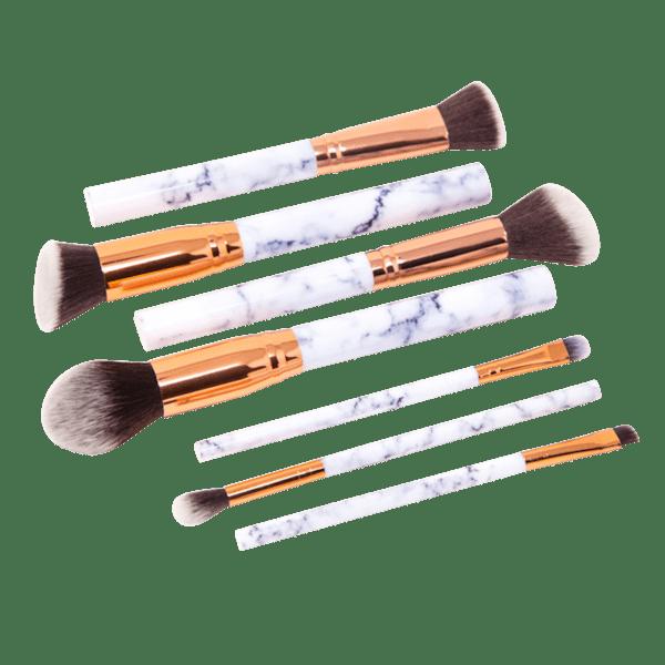 Zoe Ayla 7 Piece Marble Effect Make Up Brush Set With