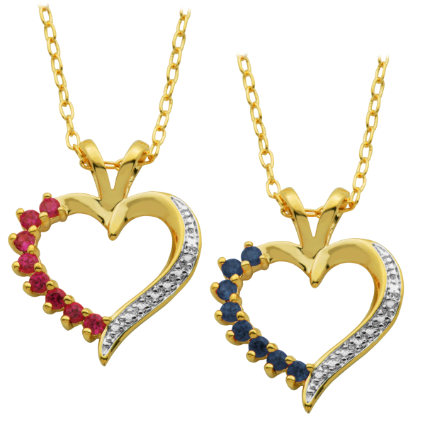18K Gold-Plated Heart Pendant with Diamond (1 Sapphire OR 1 Sapphire & 1 Ruby)