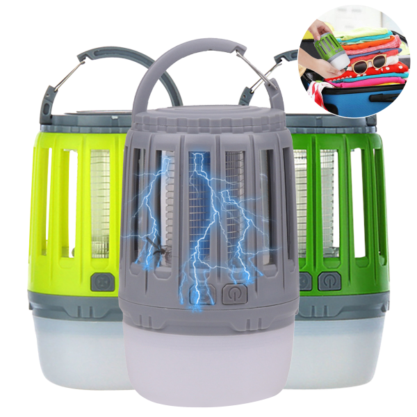 2-Pack: 3 in 1 Waterproof Lantern Bug Zapper with Rechargeable Battery