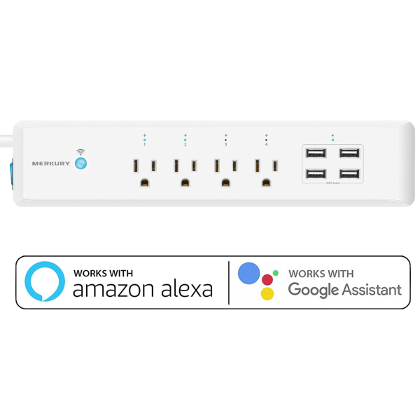 Merkury Innovations SmartSurge Wi-Fi Surge Protector with 4 USB Ports