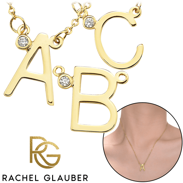 Rachel Glauber 18K Gold Plated CZ Initial Necklaces