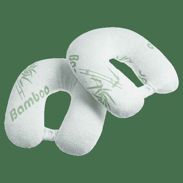 2-Pack: Bamboo Memory Foam Travel Pillows