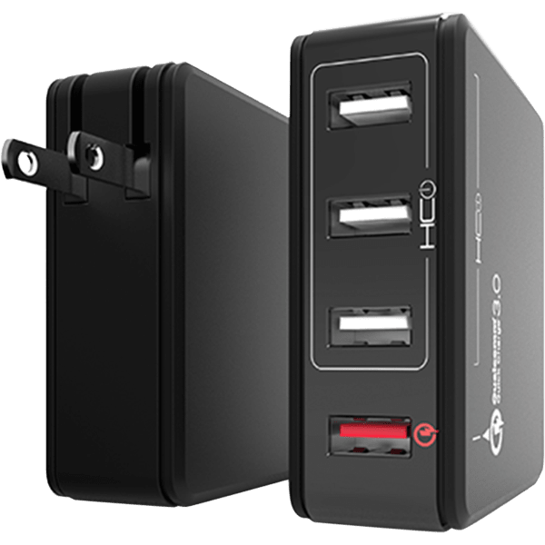Tzumi 4-Port HyperCharge AC Power Adapter with QC 3.0