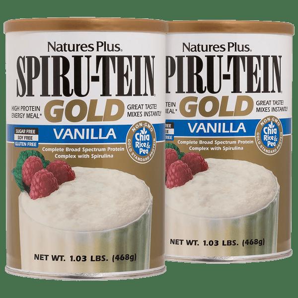 2-Pack: NaturesPlus SPIRU-TEIN Gold Shake Vanilla Protein Powder (2.06 lb Total)