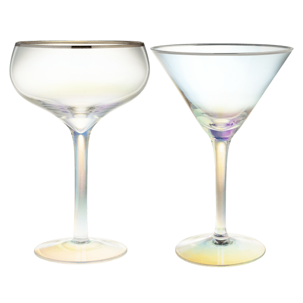 Shiraleah Iridescent Glasses Set of 4 (Champagne or Martini)