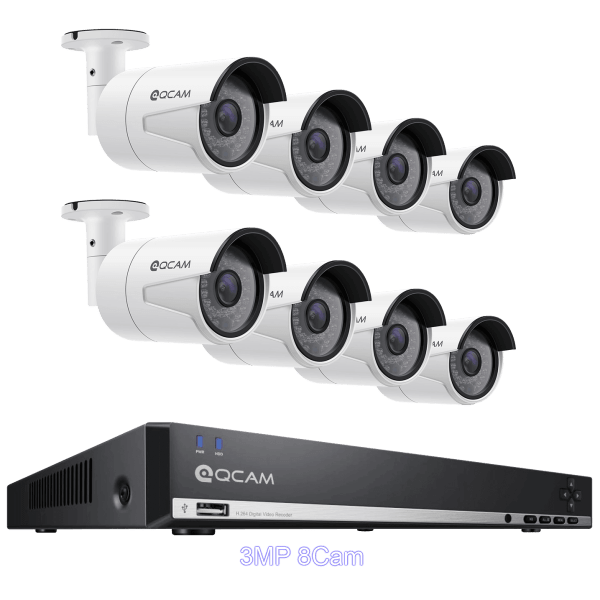 QCAM Security System Bundle: PoE Security Cameras and 2TB 8