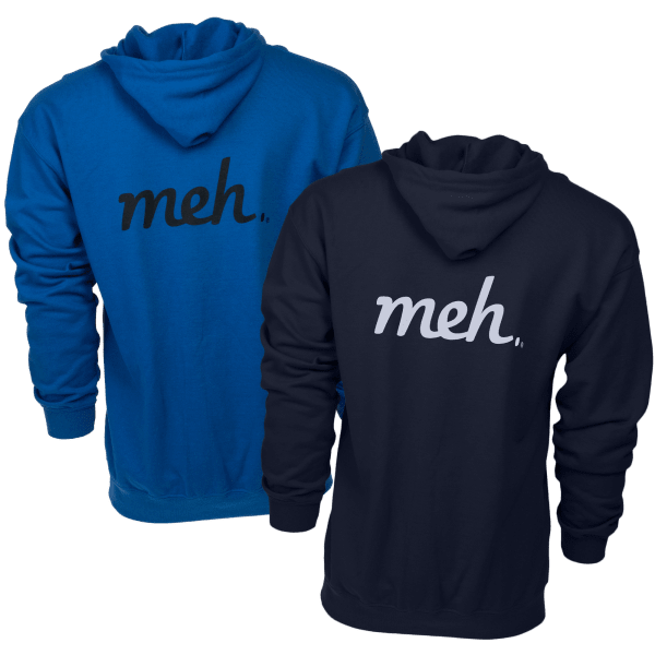 Zip-Up Hoodie with Large Meh Logo on Back