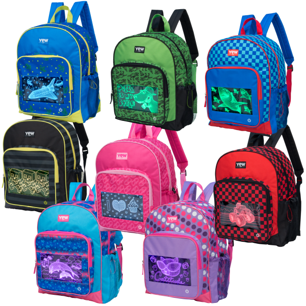 Hot Pink Hearts Yew Stuff POP Lights Light-Up  Backpack