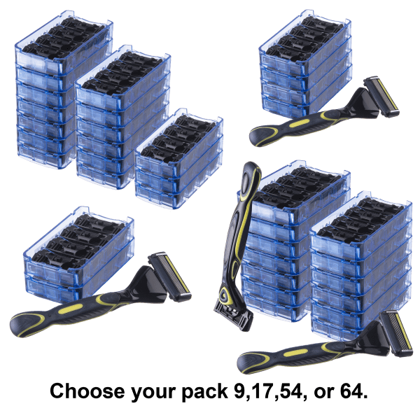 9-or-17-or-54-or-64-Pack: 6-Blade Shaving Razor Bundles
