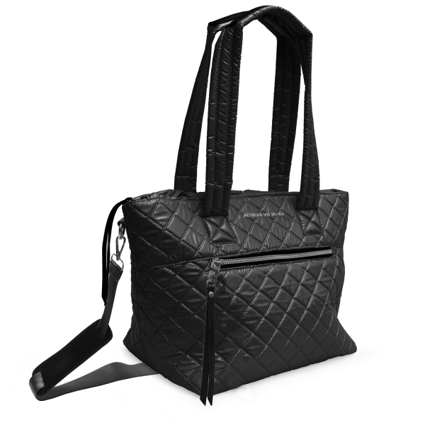 Adrienne Vittadini Metallic Quilted Nylon Collection Tote