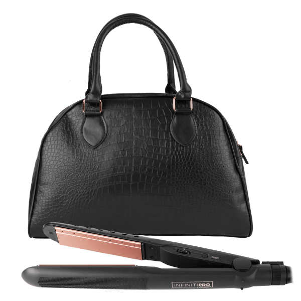INFINITIPRO by Conair High Heat Flat Iron with Premium Overnight Bag