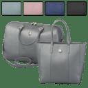 Joy Mangano Metallic Leather Weekender + Tote Combo
