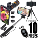 10-Piece Smart Phone Lens, Tripod and Selfie Bundle